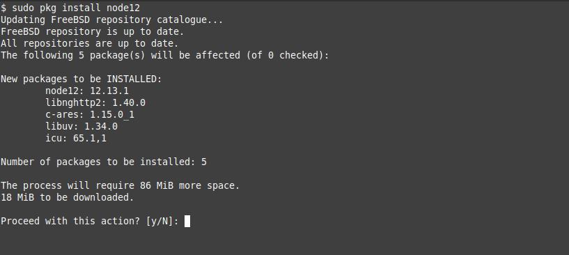 2.- Install NodeJS on FreeBSD 12