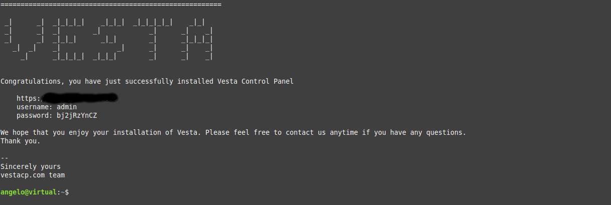 4.- VestaCP properly installed