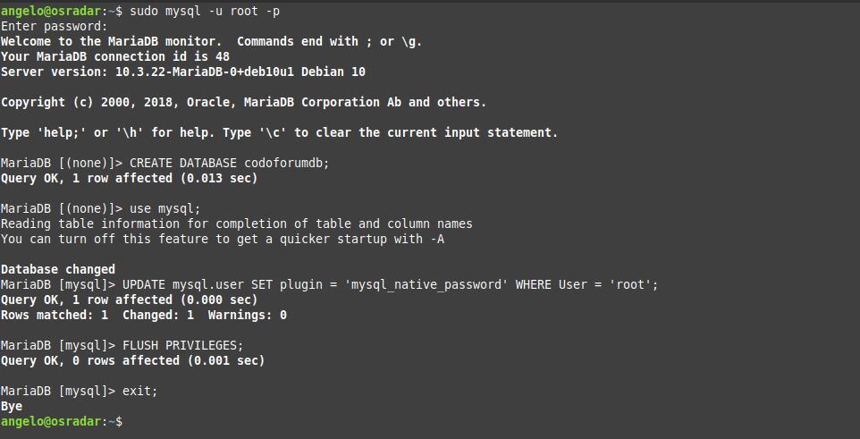 1.- Configuring MariaDB
