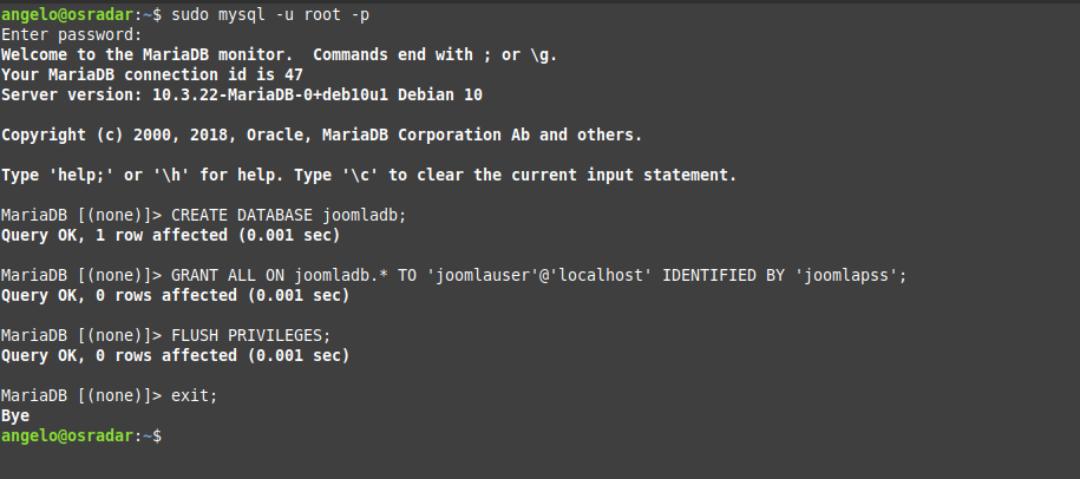 1.- Working with MariaDB before installing Joomla