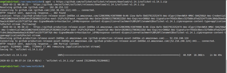 2.- Download osTicket on Ubuntu 18.04
