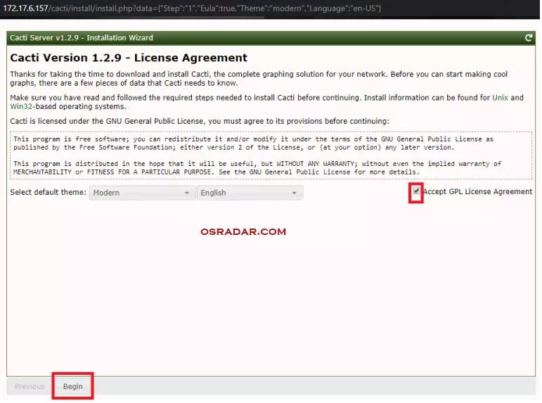 install cacti monitoring server