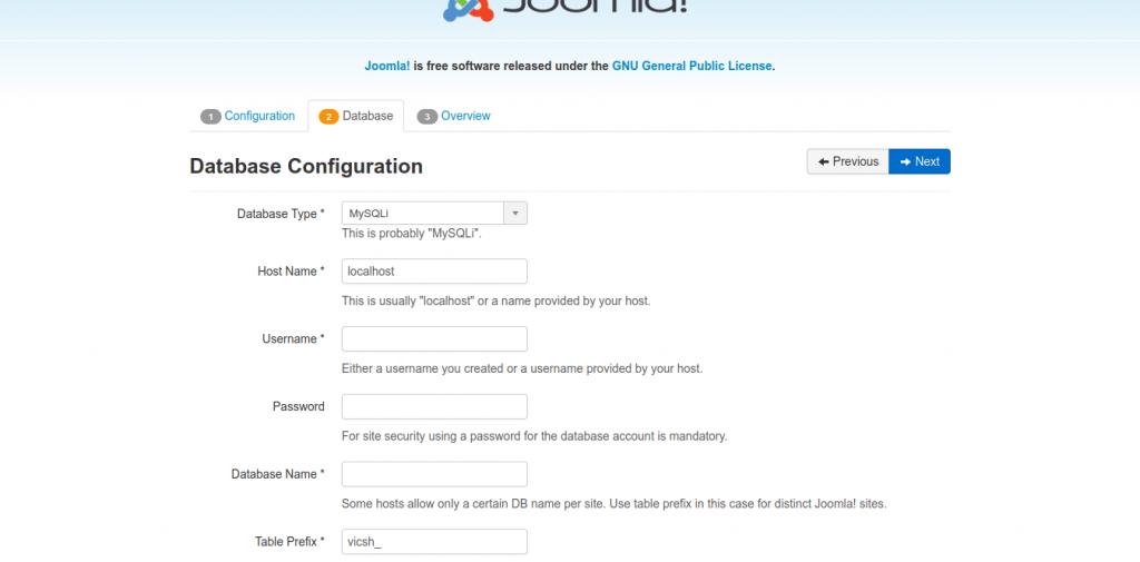 4.- Configuring Joomla