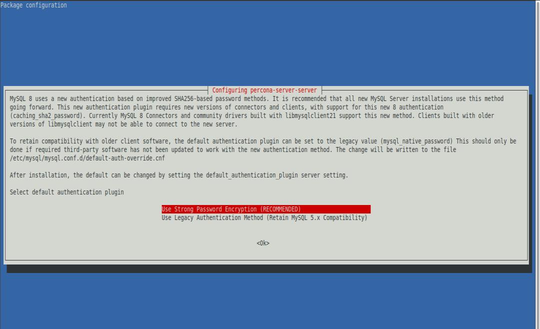 6.- Select the default authentication plugin