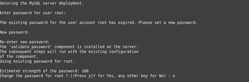 6.- Change the default root password
