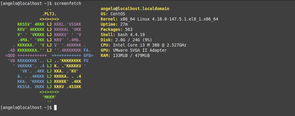 6.- Screenfetch on CentOS 8