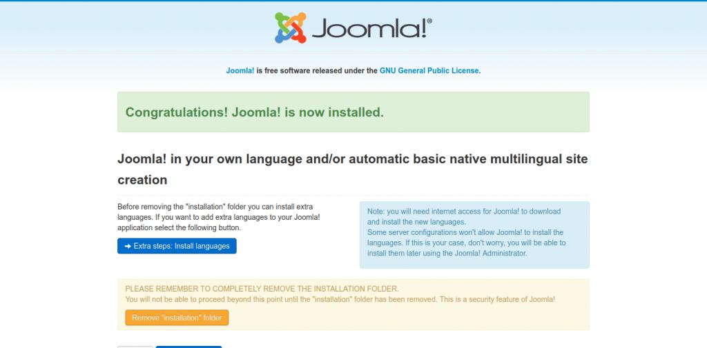 7.- Joomla installed