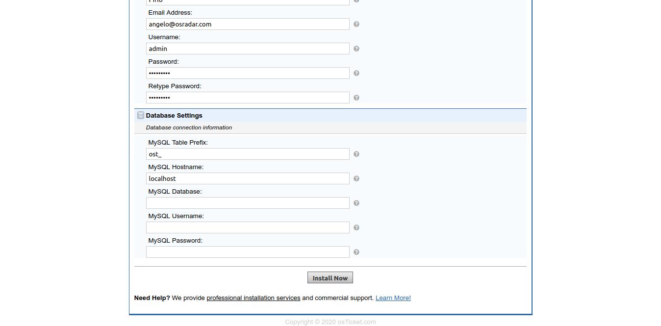 7.- Database credentials