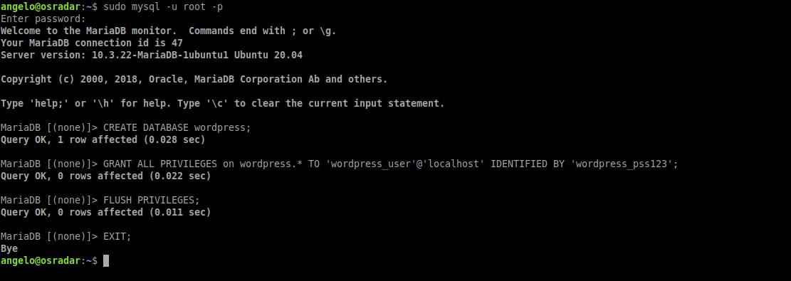 1.- Creating the database for wordpress