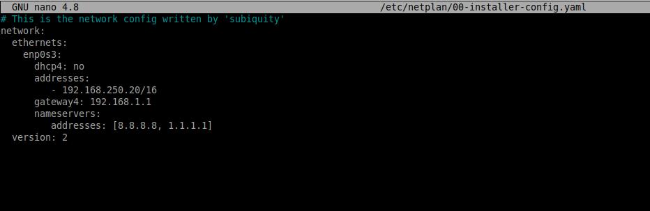 2.- Set a static IP address on Ubuntu 20.04