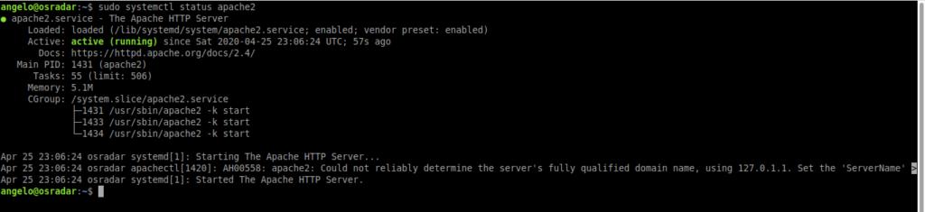 2.- Apache service status
