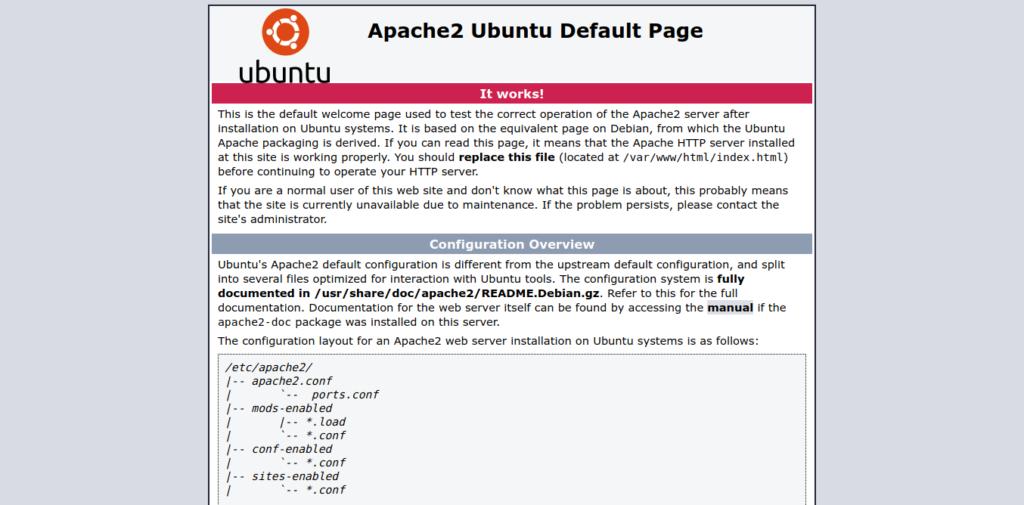 Apache Default page on Ubuntu 20.04
