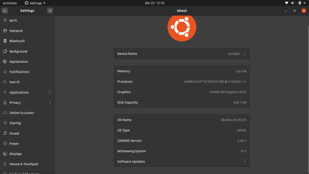 Ubuntu 20.04 system info