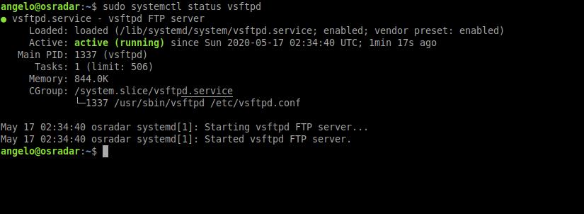 2.- FTP server status