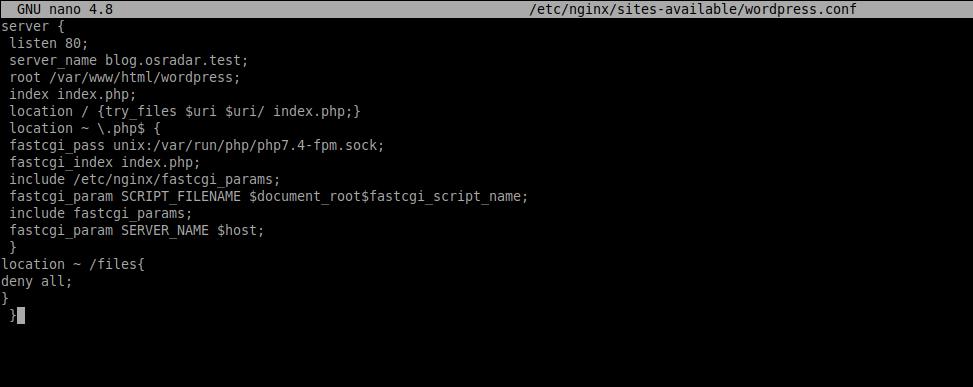 2.- Nginx server block for WordPress