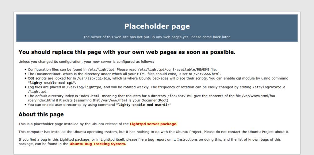 2.- Lighttpd default page