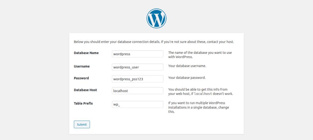 5.- WordPress database credentials