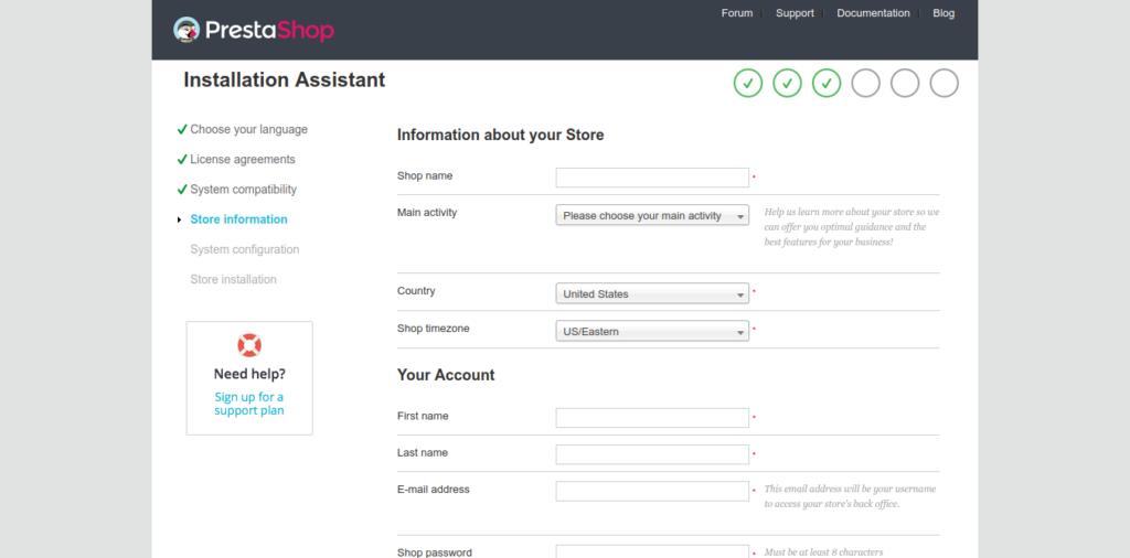 6.- Store information on Prestashop