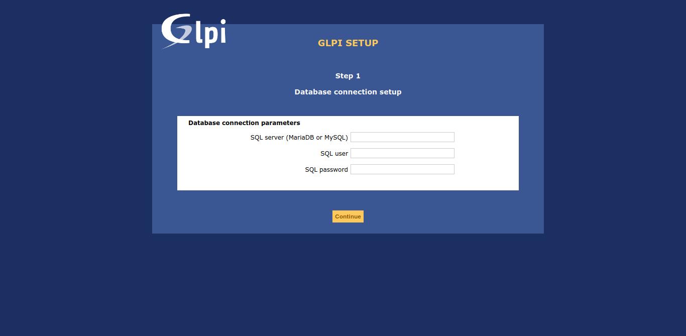 7.- Database credentials on GLPI installation