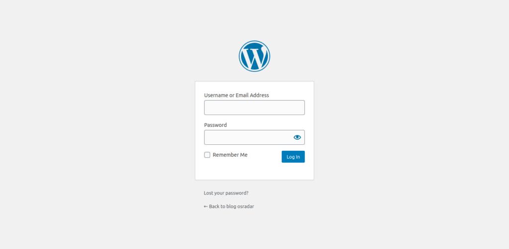 9.- WordPress login screen