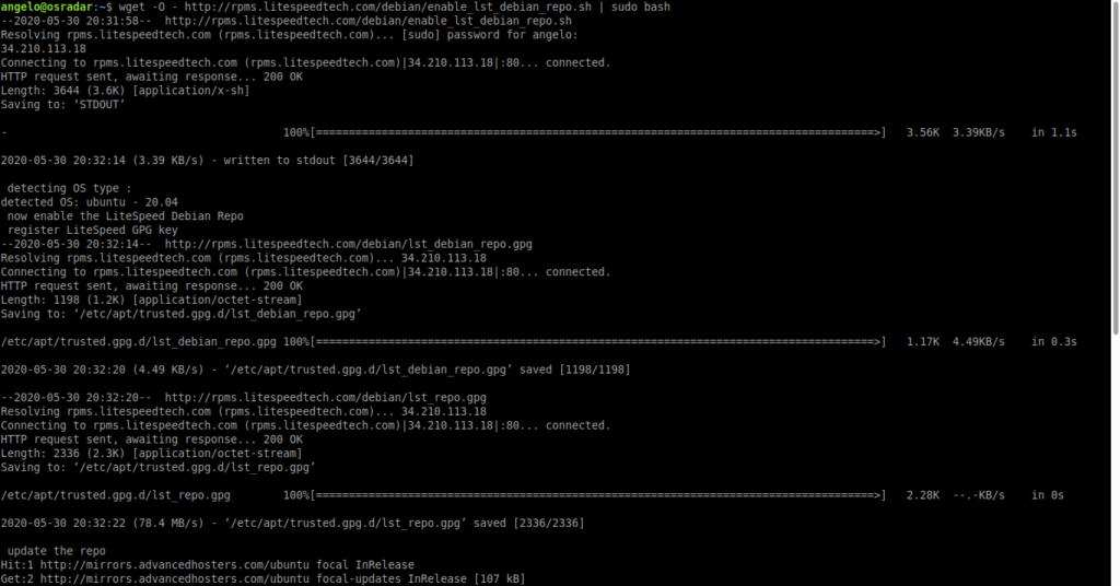 1.- Adding the OpenLiteSpeed repository on Ubuntu 20.04 / Debian 10