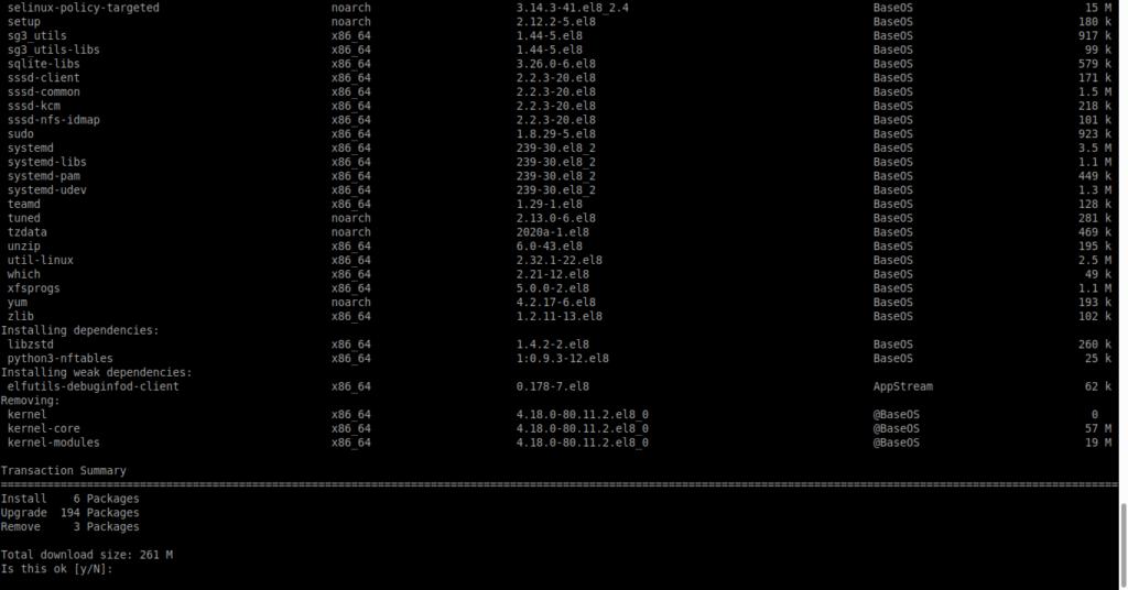 2.- Upgrade from CentOS 8.1 to CentOS 8.2