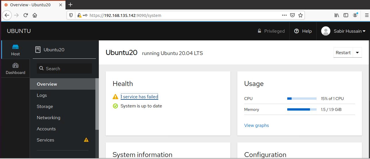 Manage Ubuntu 20.04 Linux With Cockpit Web Console