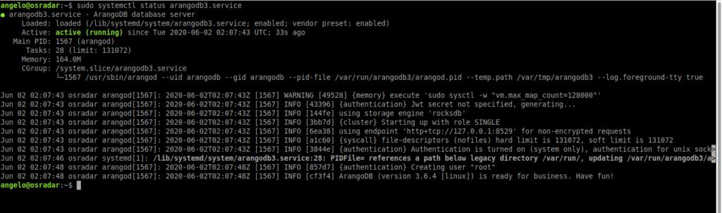 7.- ArangoDB service status