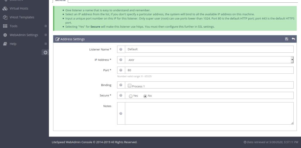9.-Changing the default port of OpenLiteSpeed