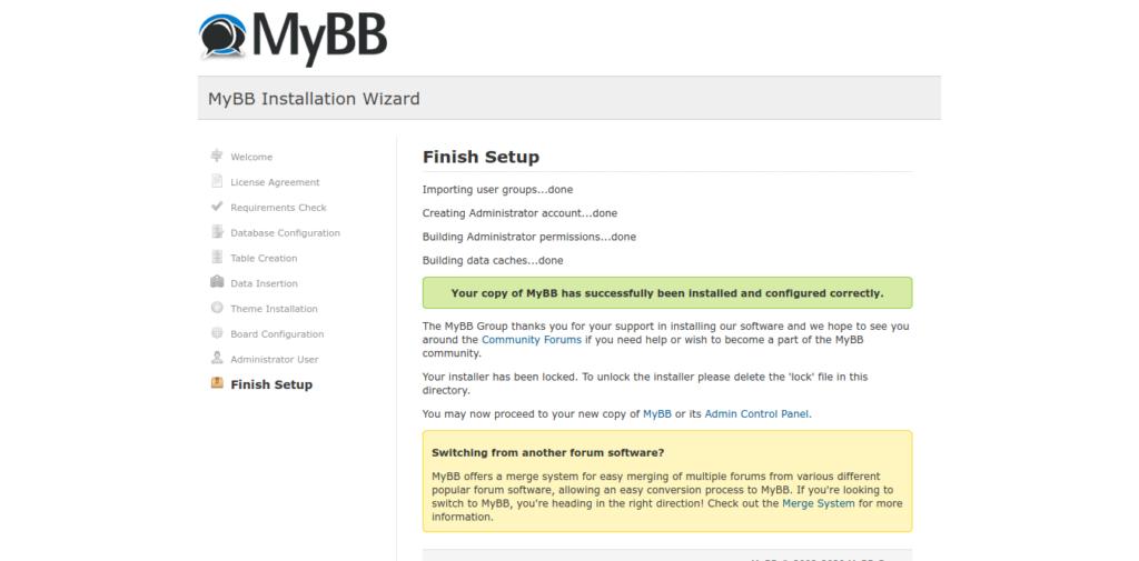 13.- MyBB installed on Ubuntu 20.04
