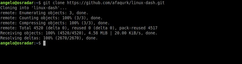 2.- Downloading Linux Dash on Ubuntu 20.04