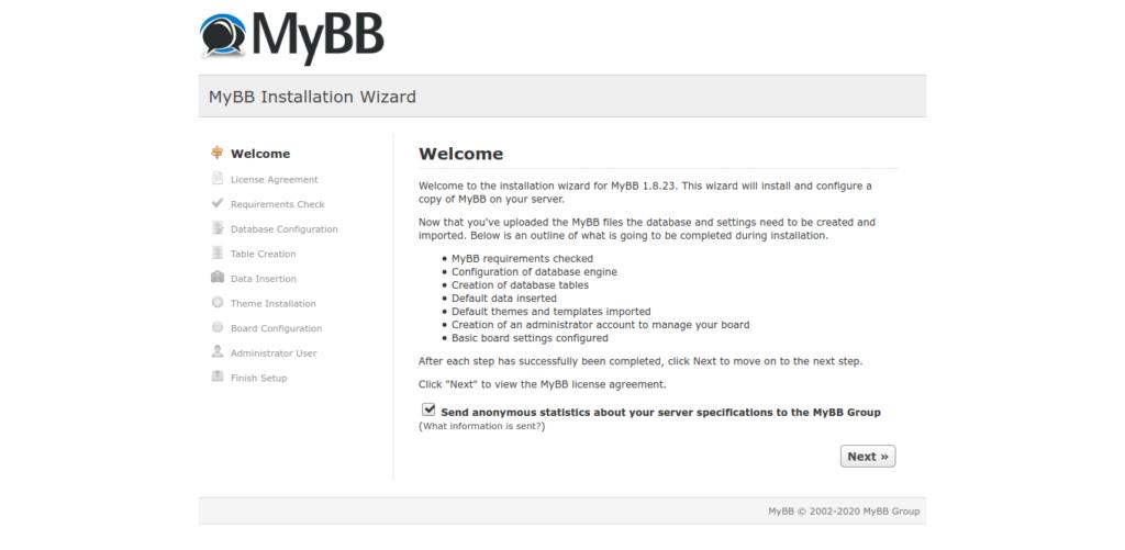 4.- MyBB welcome screen