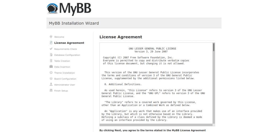 5.- MyBB license agreement
