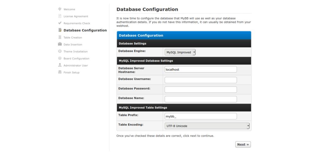7.- Database configuration