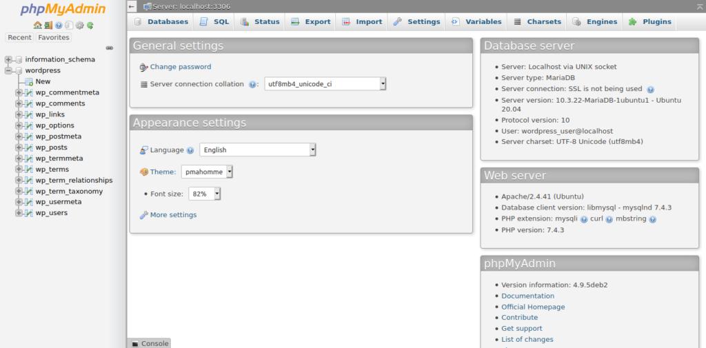 1.- PHPMyAdmin main screen