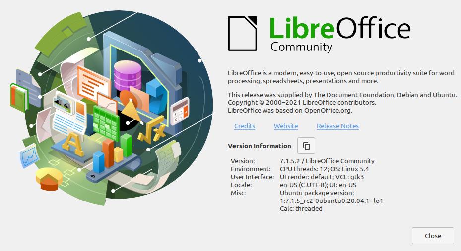 1.- LibreOffice 7.1 on Ubuntu 20.04