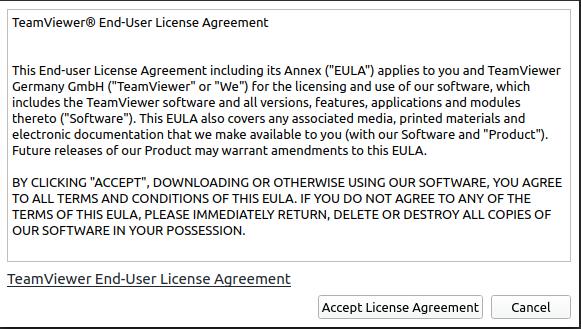1.- TeamViewer license agreement