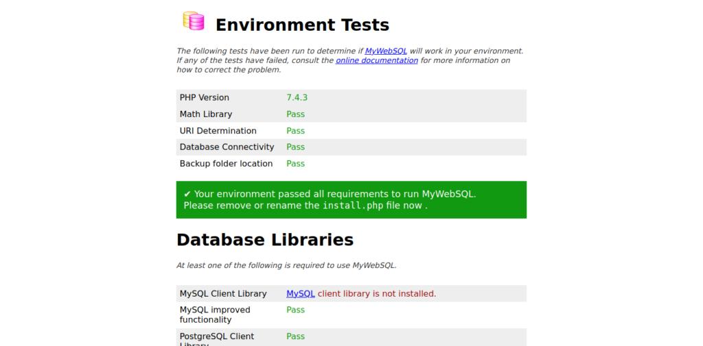 2.- MyWebSQL installation screen