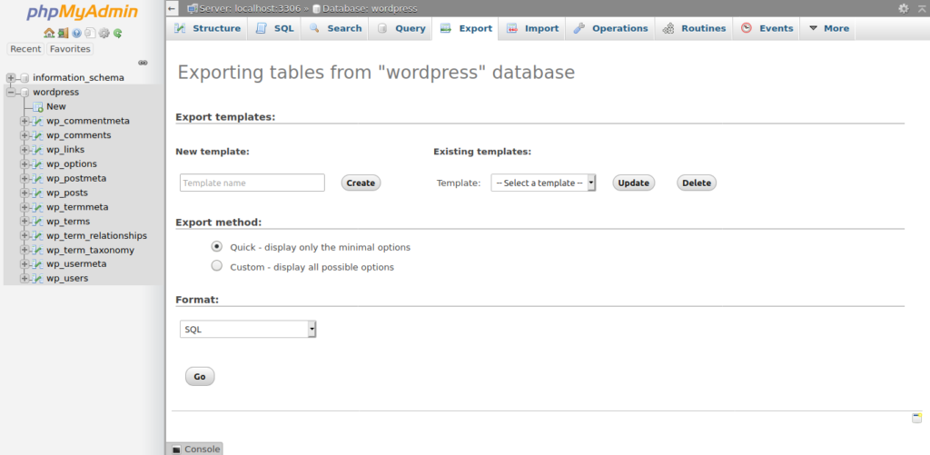 2.- Making a wordpress data backup