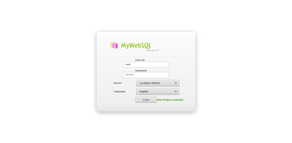 3.- MyWebSQL login screen