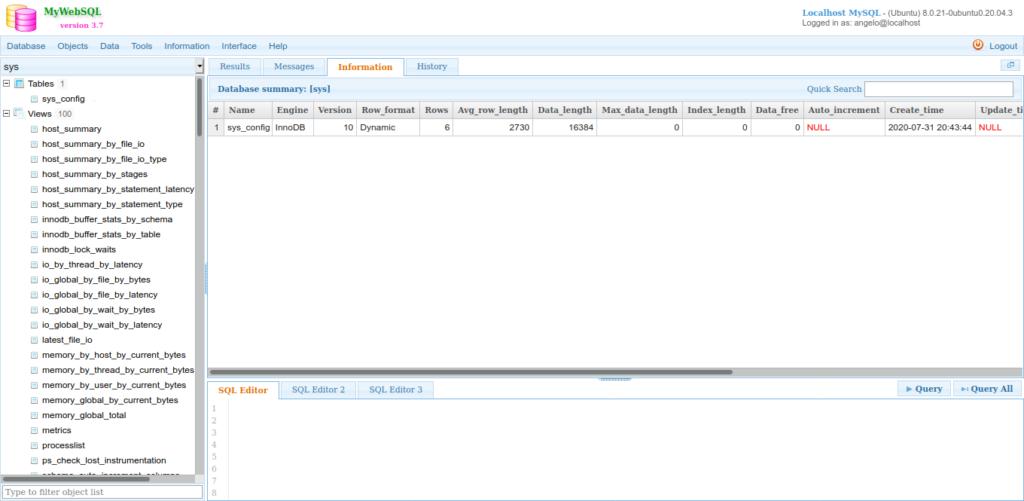 4.- MyWebSQL on Ubuntu 20.04