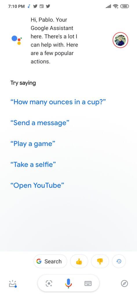 Google Assistan main screen