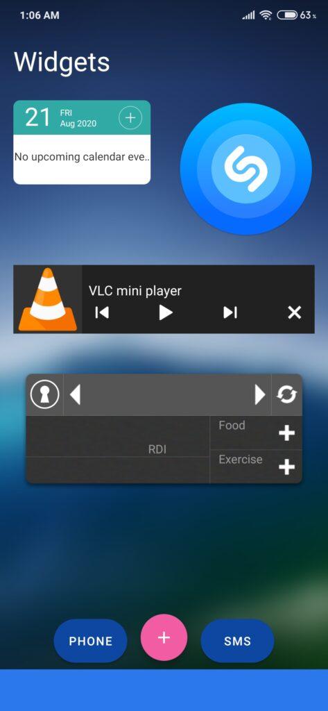 widget screen