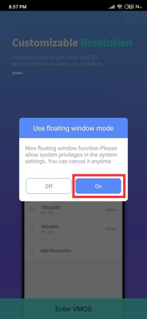 use floating window mode