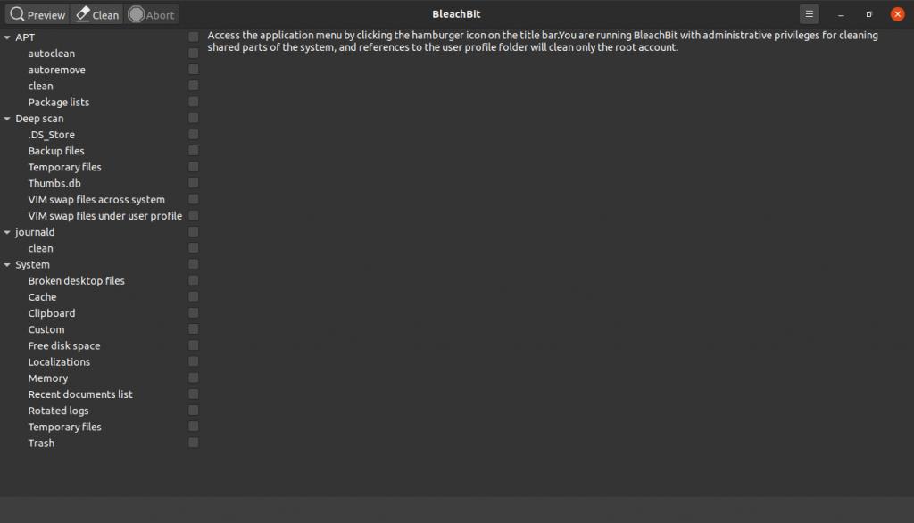 3.- Bleachbit main screen