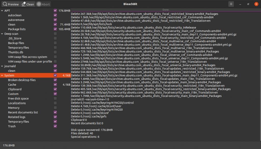 6.- Keep Ubuntu 20.04 clean with Bleachbit