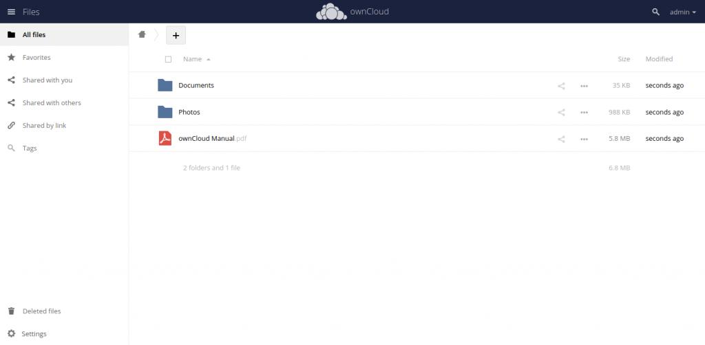 6.- Owncloud main screen on Ubuntu 20.04