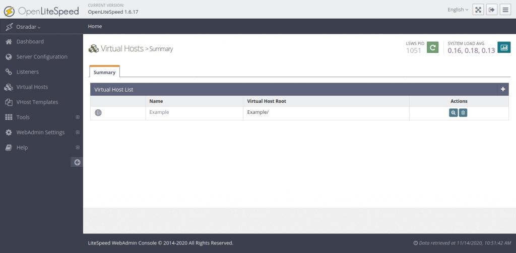 1.- Virtualhost section on OpenLiteSpeed