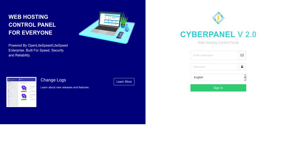 1.- CyberPanel login screen
