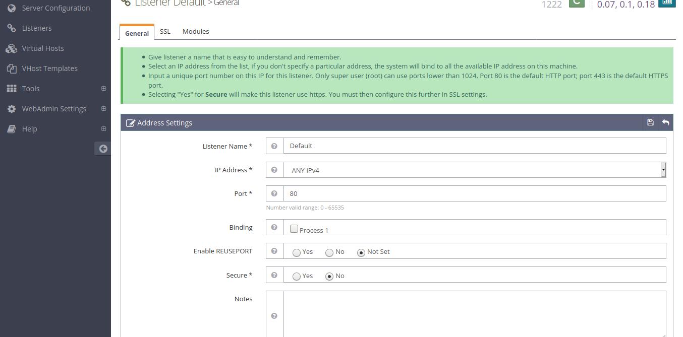 10.-Changing the OpenLiteSpeed default port
